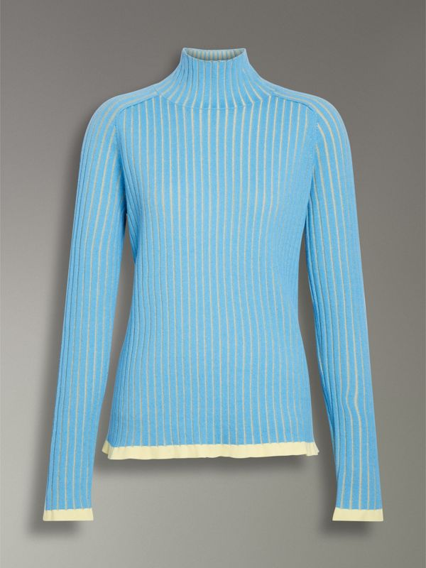 Silk Cashmere Turtleneck Sweater in Pale Blue - Women | Burberry United Kingdom - cell image 3