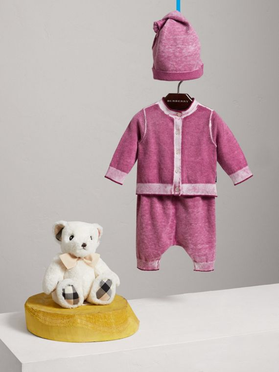 Cashmere Cotton Three-piece Baby Gift Set in Plum Pink