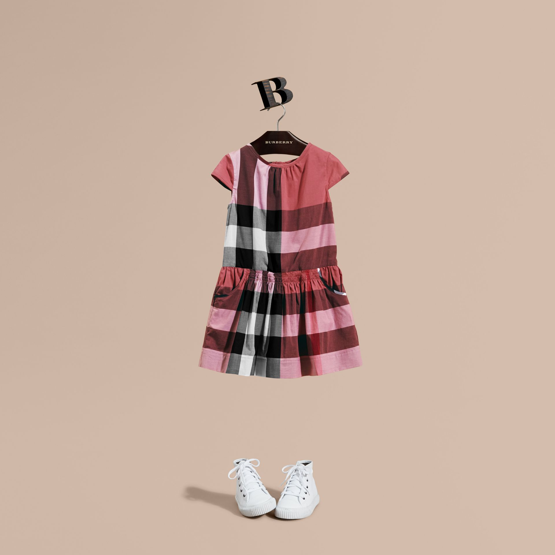 Cap-sleeved Check Cotton Voile Dress Pink Azalea - gallery image 1