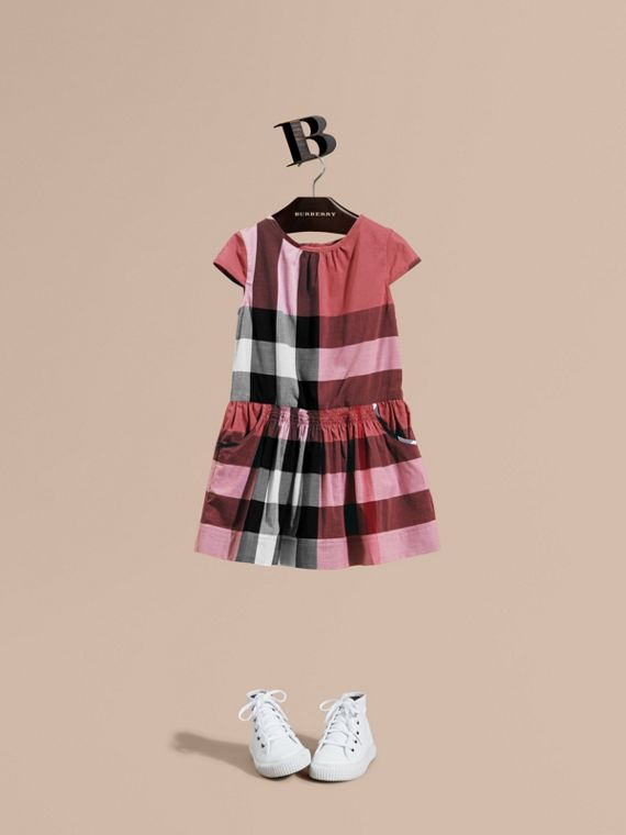 Cap-sleeved Check Cotton Voile Dress