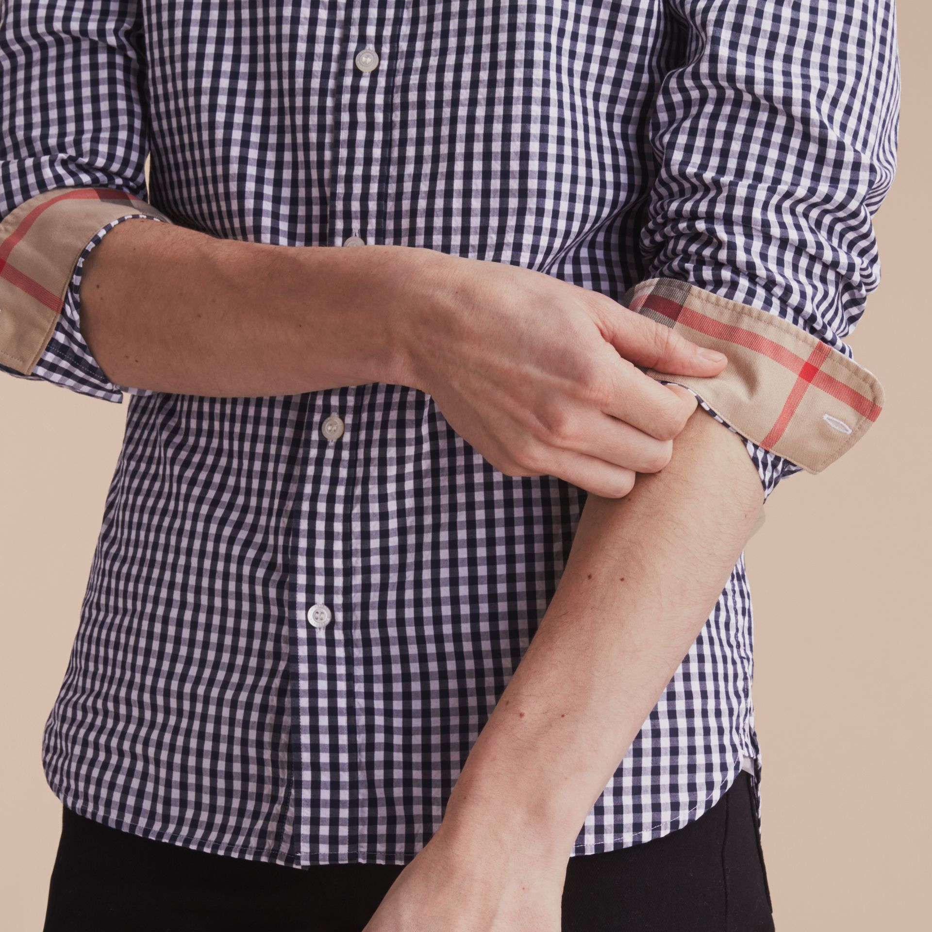 Gingham Cotton Poplin Shirt with Check Detail Ink Blue - gallery image 5
