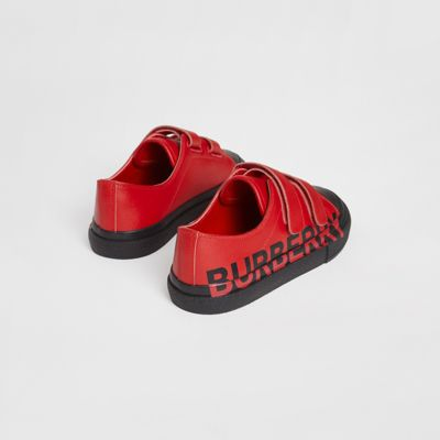 Two-tone Leather Sneakers in Bright Red