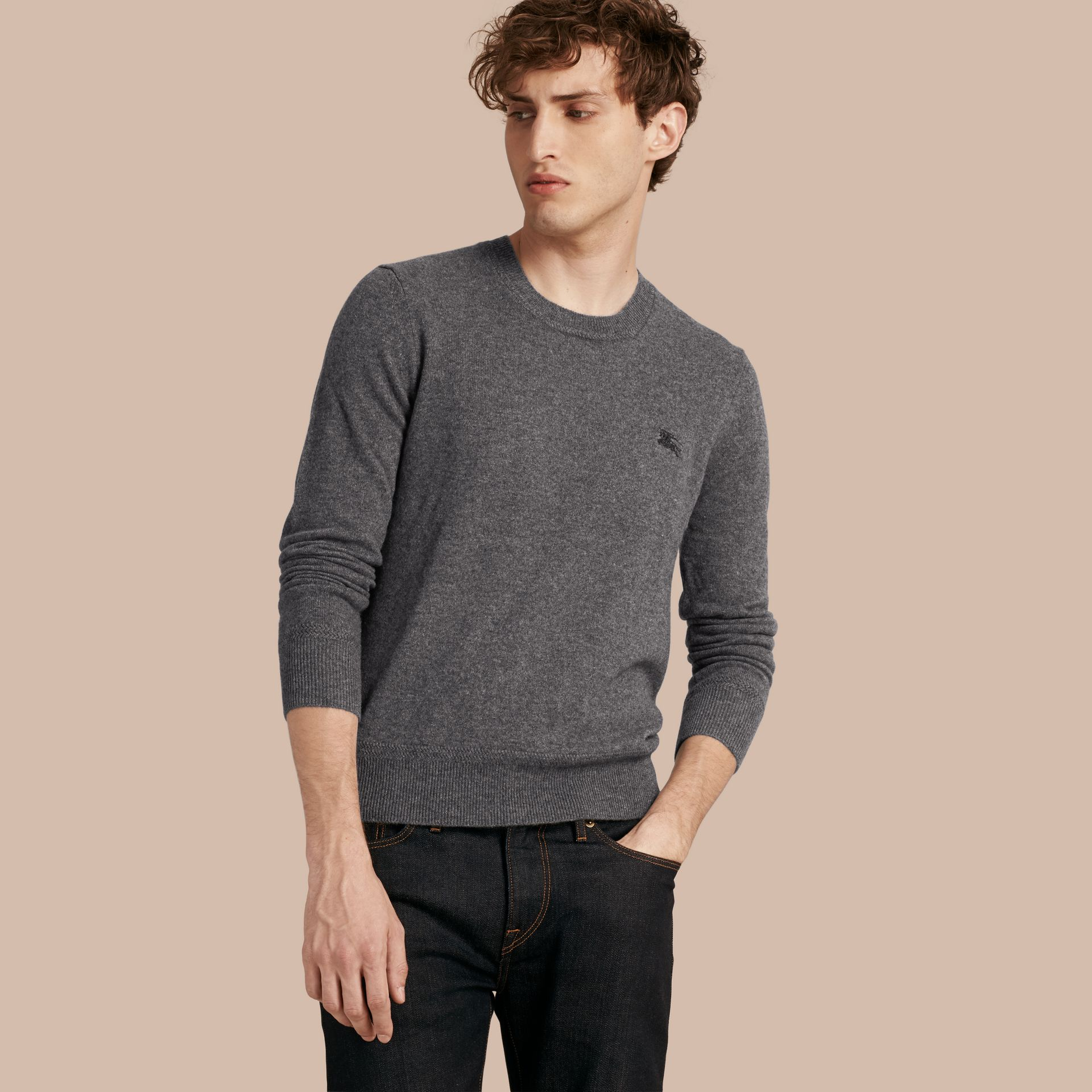 Crew Neck Cashmere Sweater in Mid Grey Melange - gallery image 1