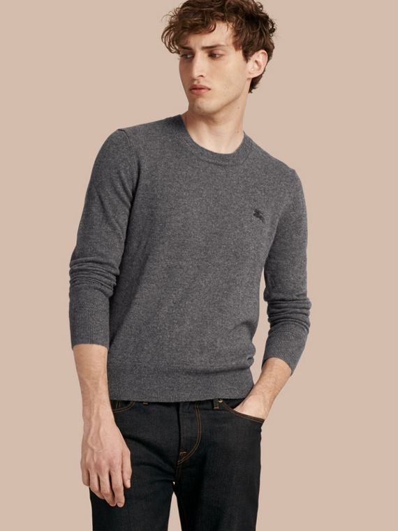 Crew Neck Cashmere Sweater in Mid Grey Melange