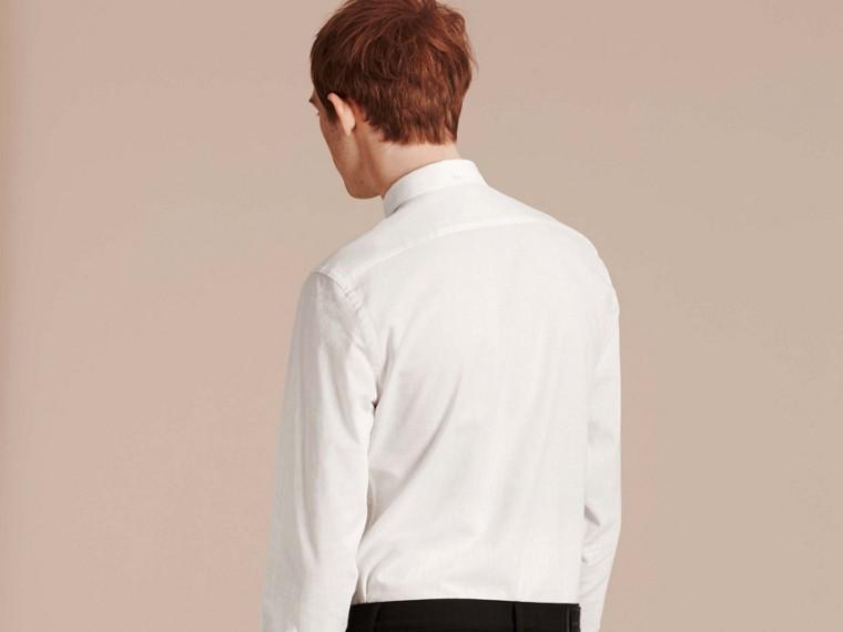Weiss Hemd aus Baumwolle und Leinen mit Button-down-Kragen Weiss - cell image 1