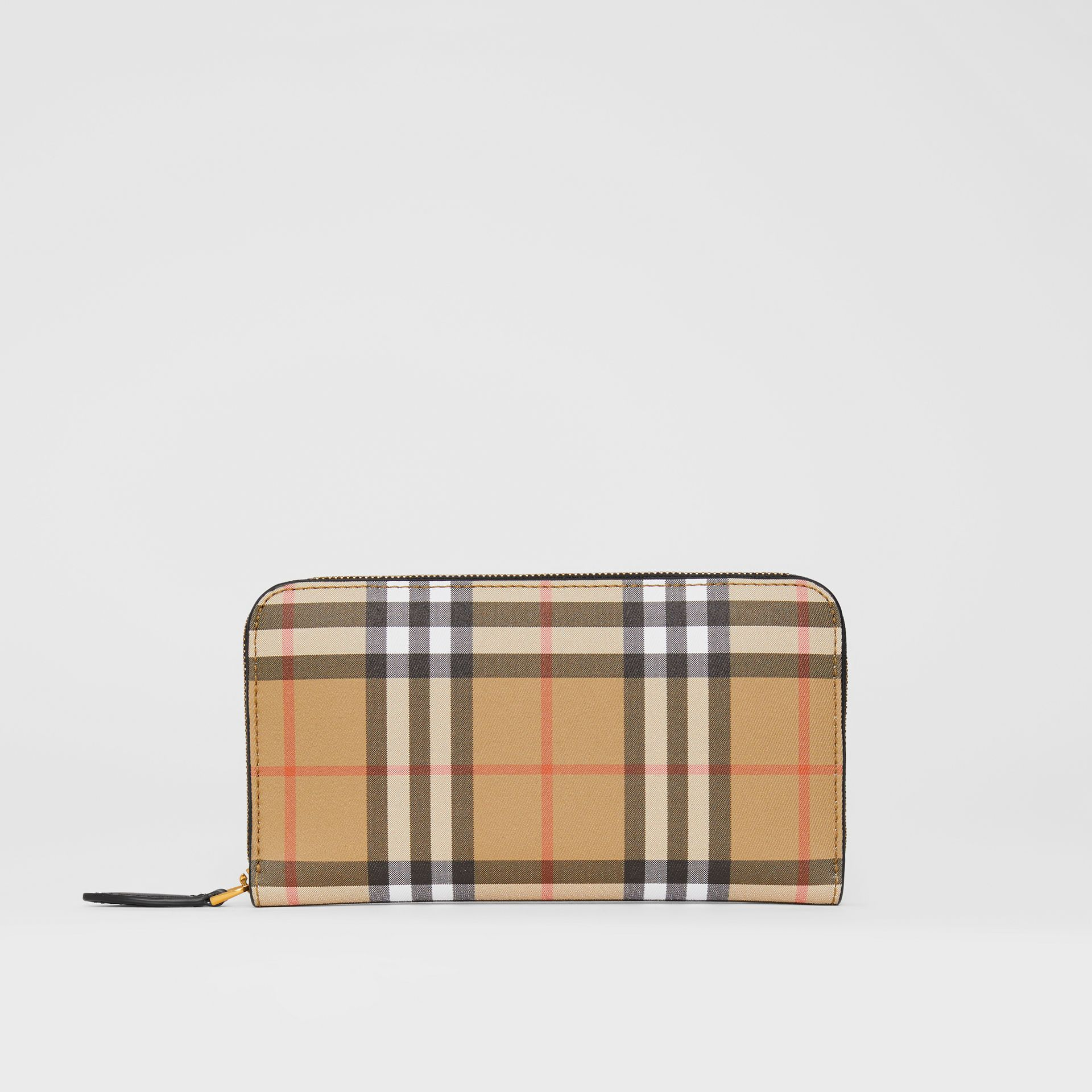 Vintage Check and Leather Ziparound Wallet in Black - Women | Burberry Australia - gallery image 2