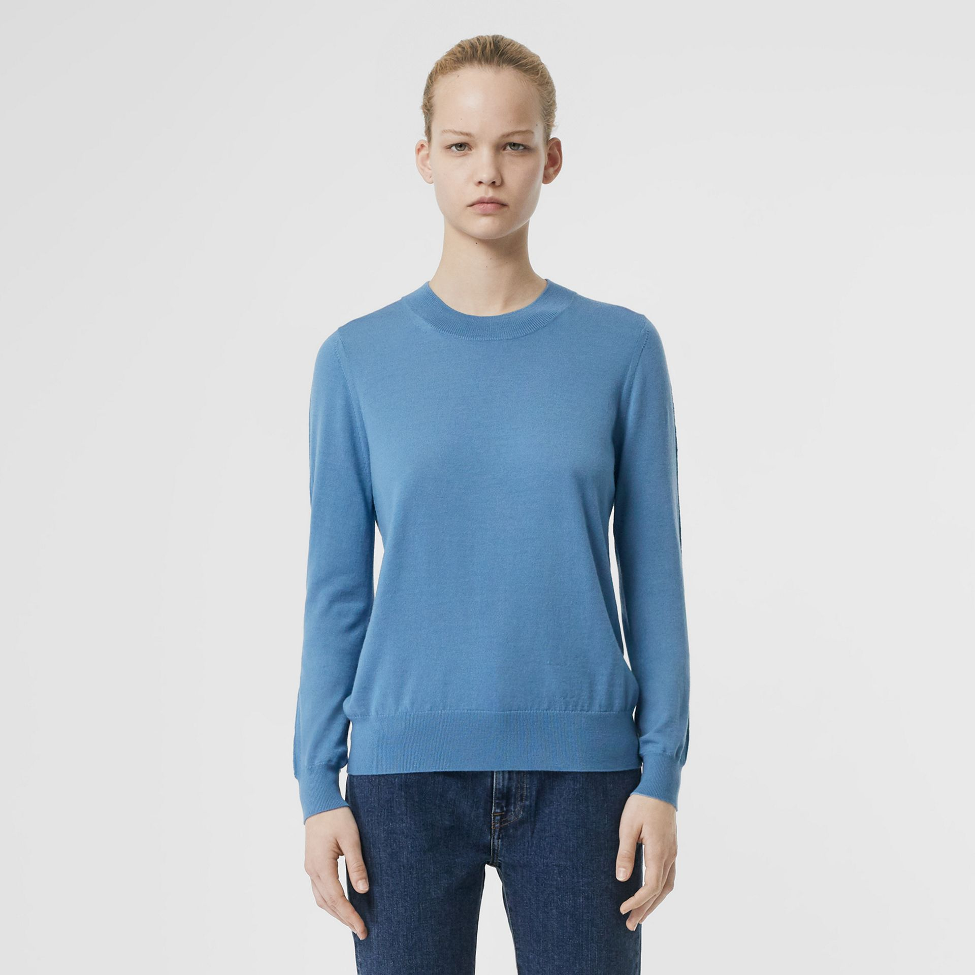 Logo Detail Merino Wool Sweater in Pebble Blue - Women | Burberry - gallery image 5