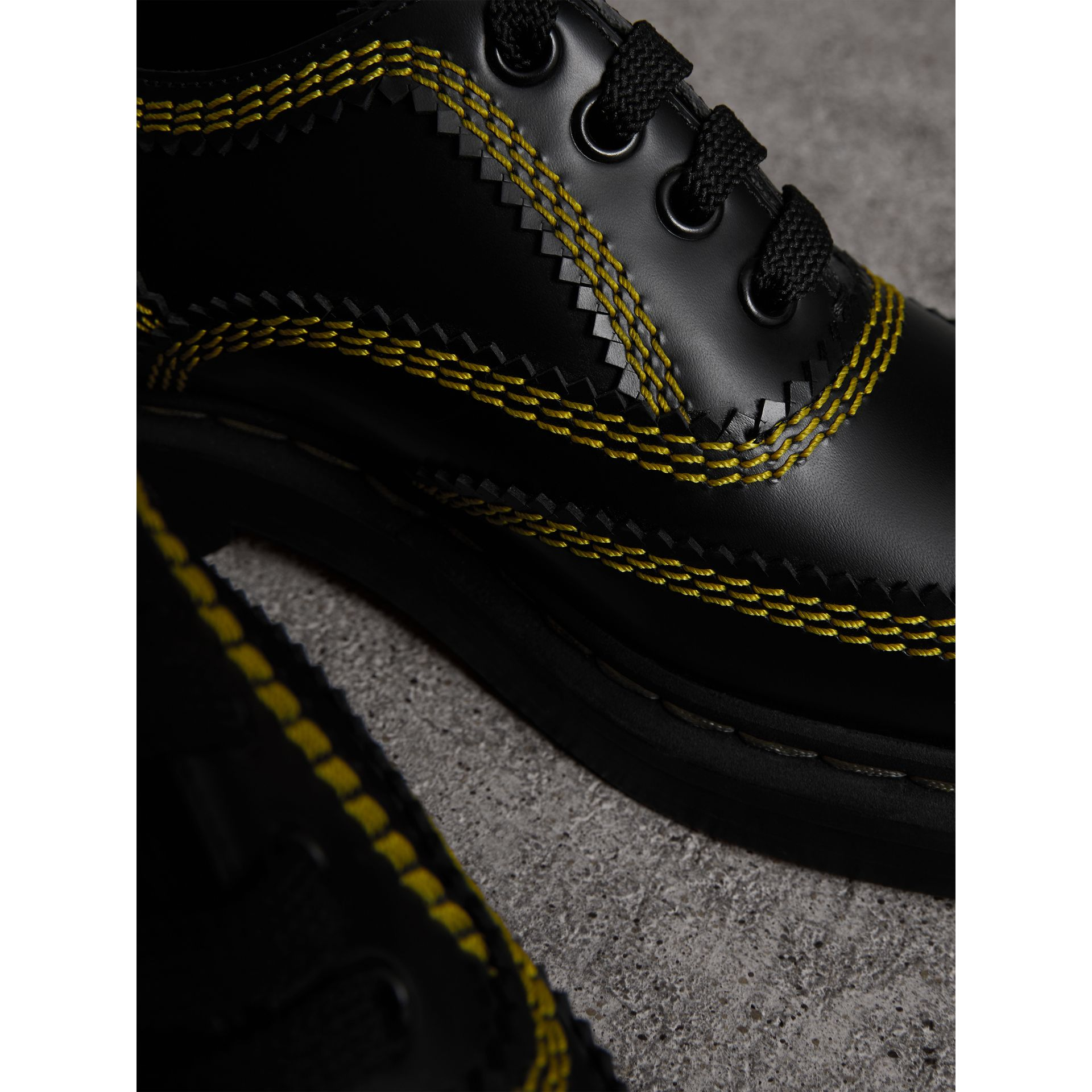 Topstitch Leather Lace-up Shoes in Black - Women | Burberry - gallery image 1