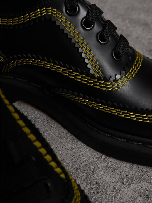 Topstitch Leather Lace-up Shoes in Black - Women | Burberry - cell image 1