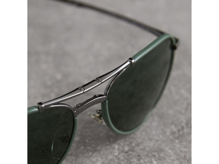 Folding Pilot Sunglasses in Dark Olive - Men | Burberry - cell image 1