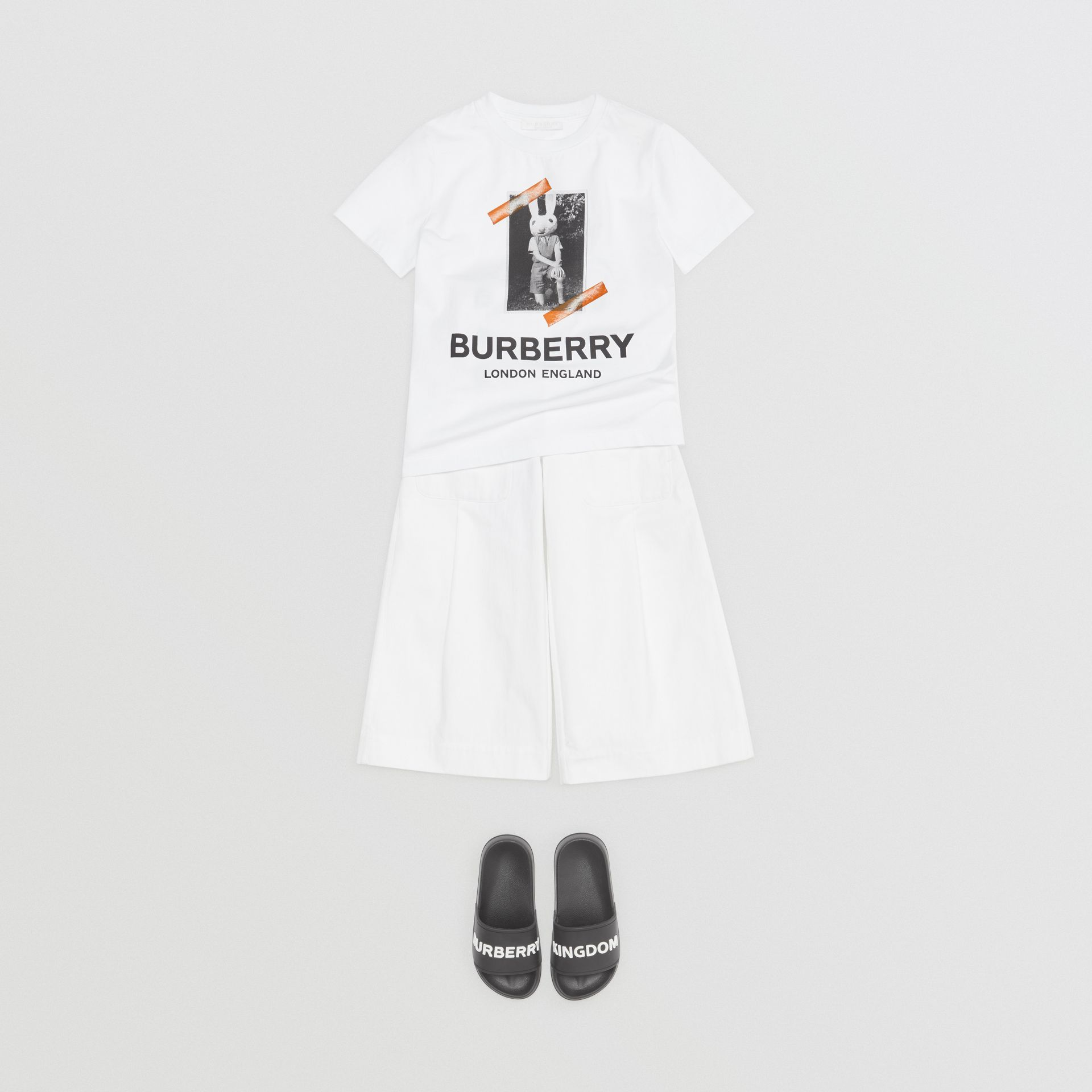 Vintage Photo Print Cotton T-shirt in White | Burberry Australia - gallery image 2