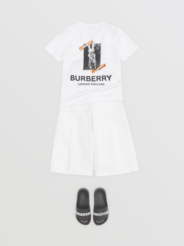 Vintage Photo Print Cotton T-shirt in White | Burberry Australia - cell image 2