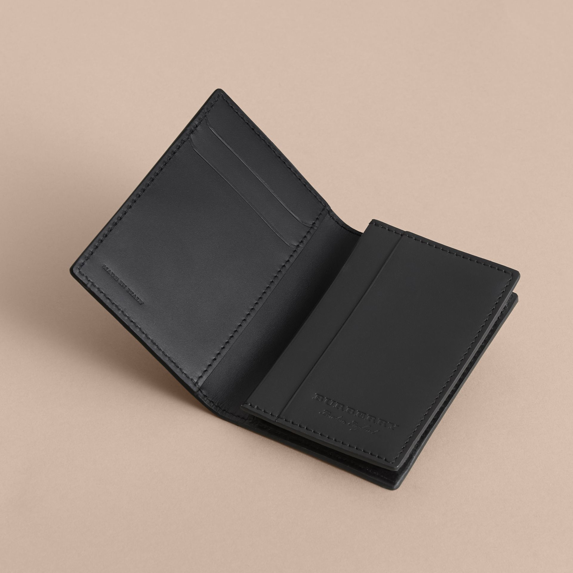 Trench Leather Folding Card Case in Black - Men | Burberry - gallery image 4