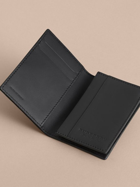 Trench Leather Folding Card Case in Black - cell image 3