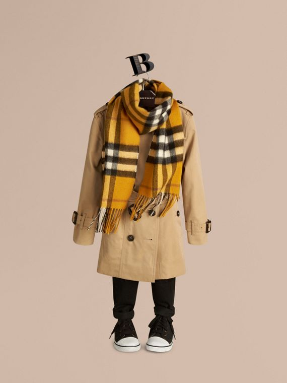 Amber yellow The Mini Classic Cashmere Scarf in Check - cell image 2
