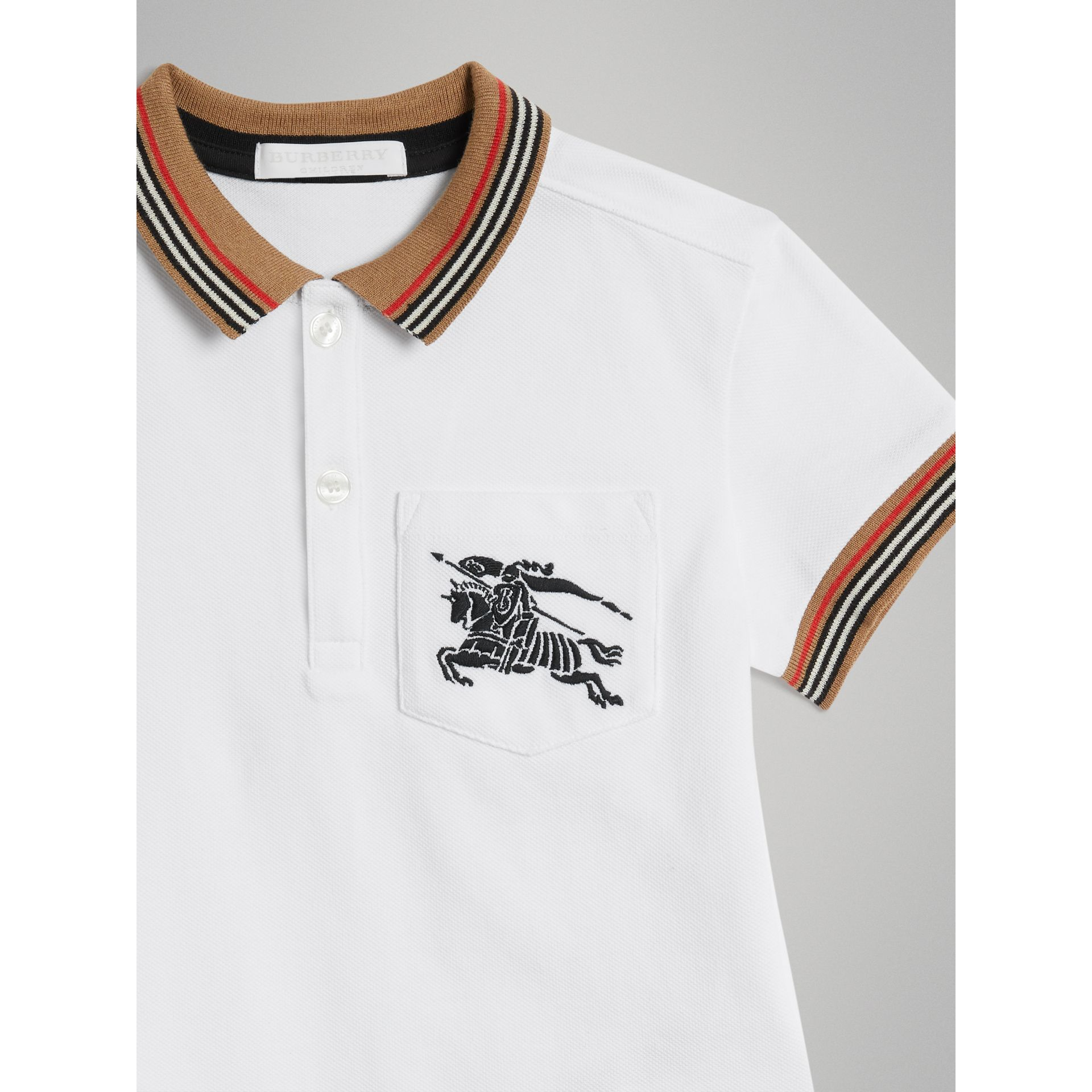Heritage Stripe Detail Cotton Polo Shirt in White - Boy | Burberry - gallery image 4