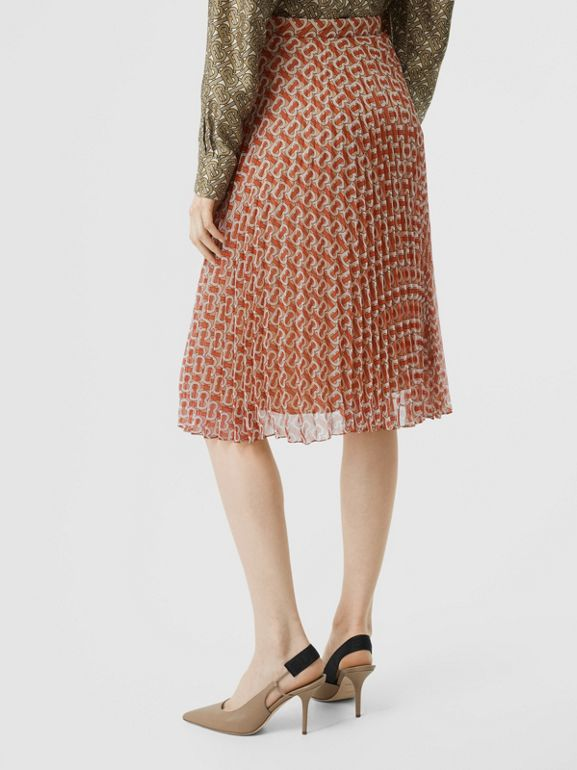 Monogram Print Chiffon Pleated Skirt in Vermillion Red - Women | Burberry United Kingdom - cell image 1