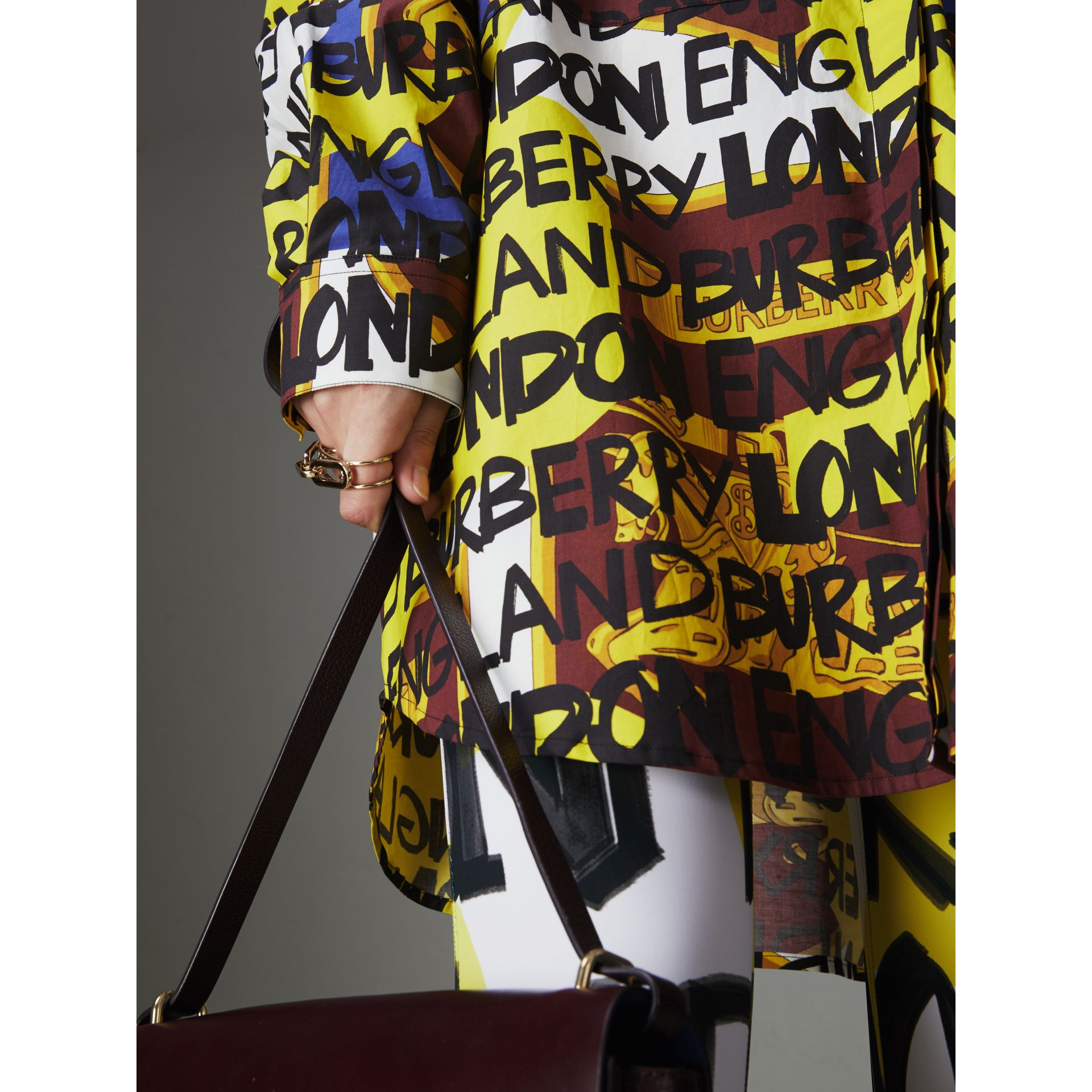 Graffiti Print Stretch-cotton Shirt in Bright Yellow - Women | Burberry Australia - gallery image 1
