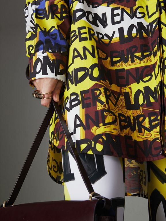 Graffiti Print Stretch-cotton Shirt in Bright Yellow - Women | Burberry Hong Kong - cell image 1