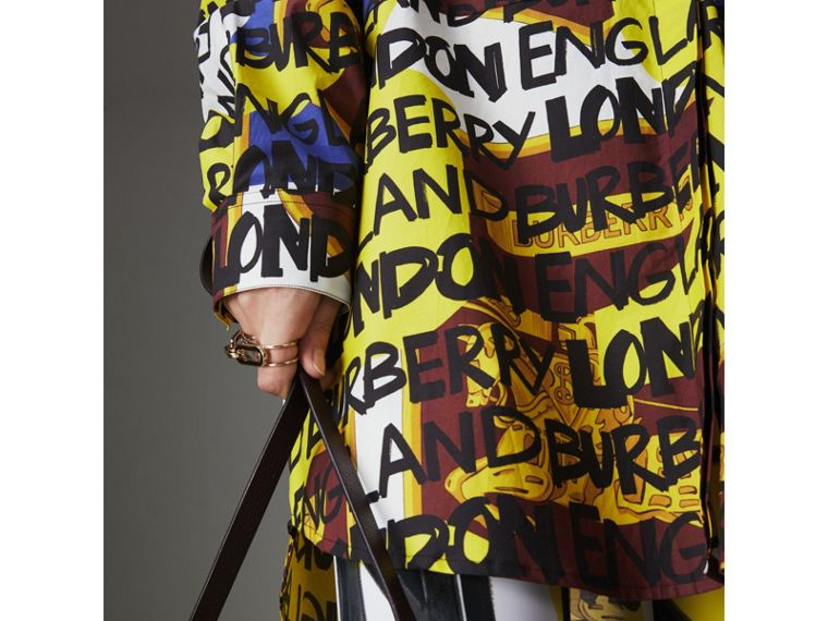Graffiti Print Stretch-cotton Shirt in Bright Yellow - Women | Burberry - cell image 1