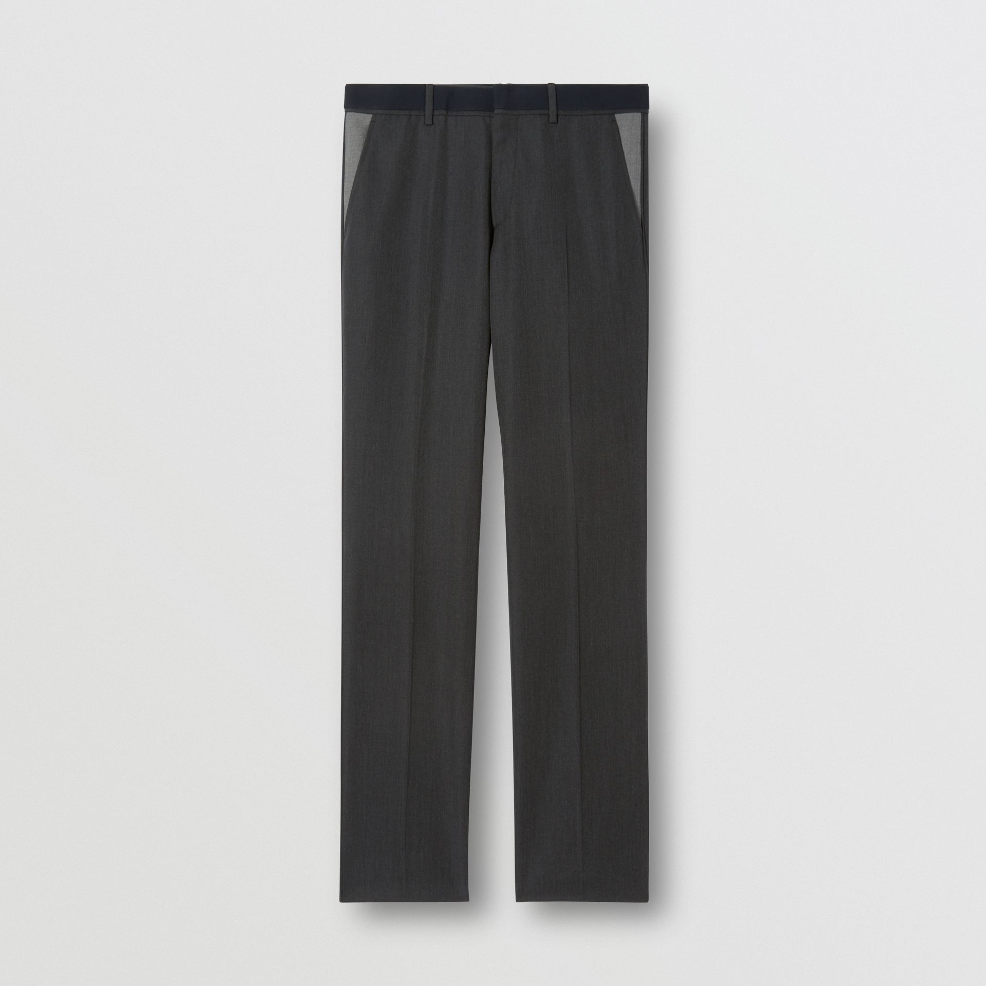 Classic Fit Panelled Wool Tailored Trousers in Charcoal - Men   Burberry United Kingdom - gallery image 3