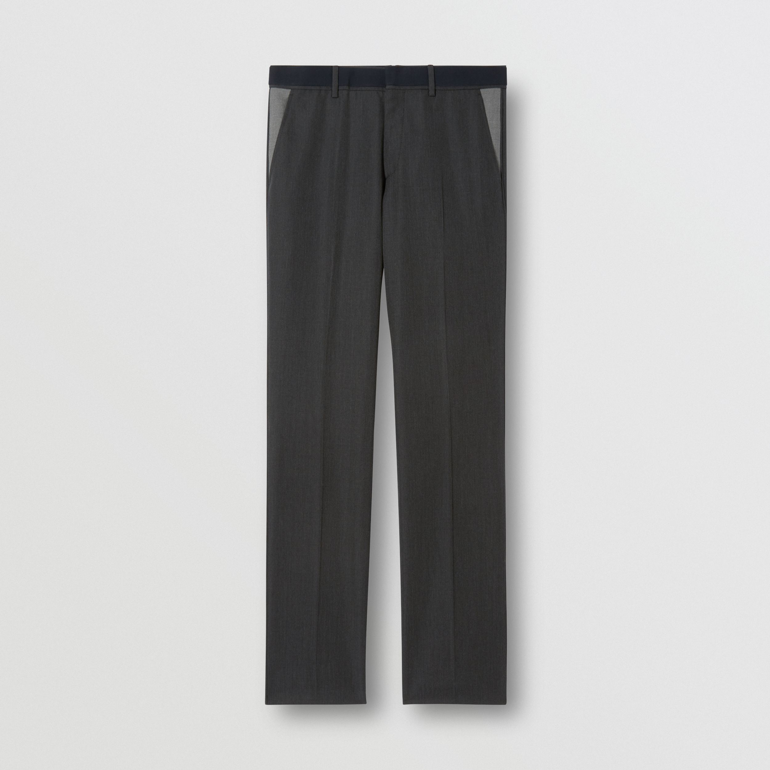 Classic Fit Panelled Wool Tailored Trousers in Charcoal - Men | Burberry - 4