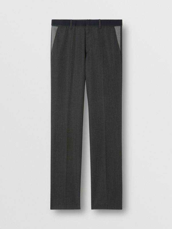 Classic Fit Panelled Wool Tailored Trousers in Charcoal - Men   Burberry United Kingdom - cell image 3