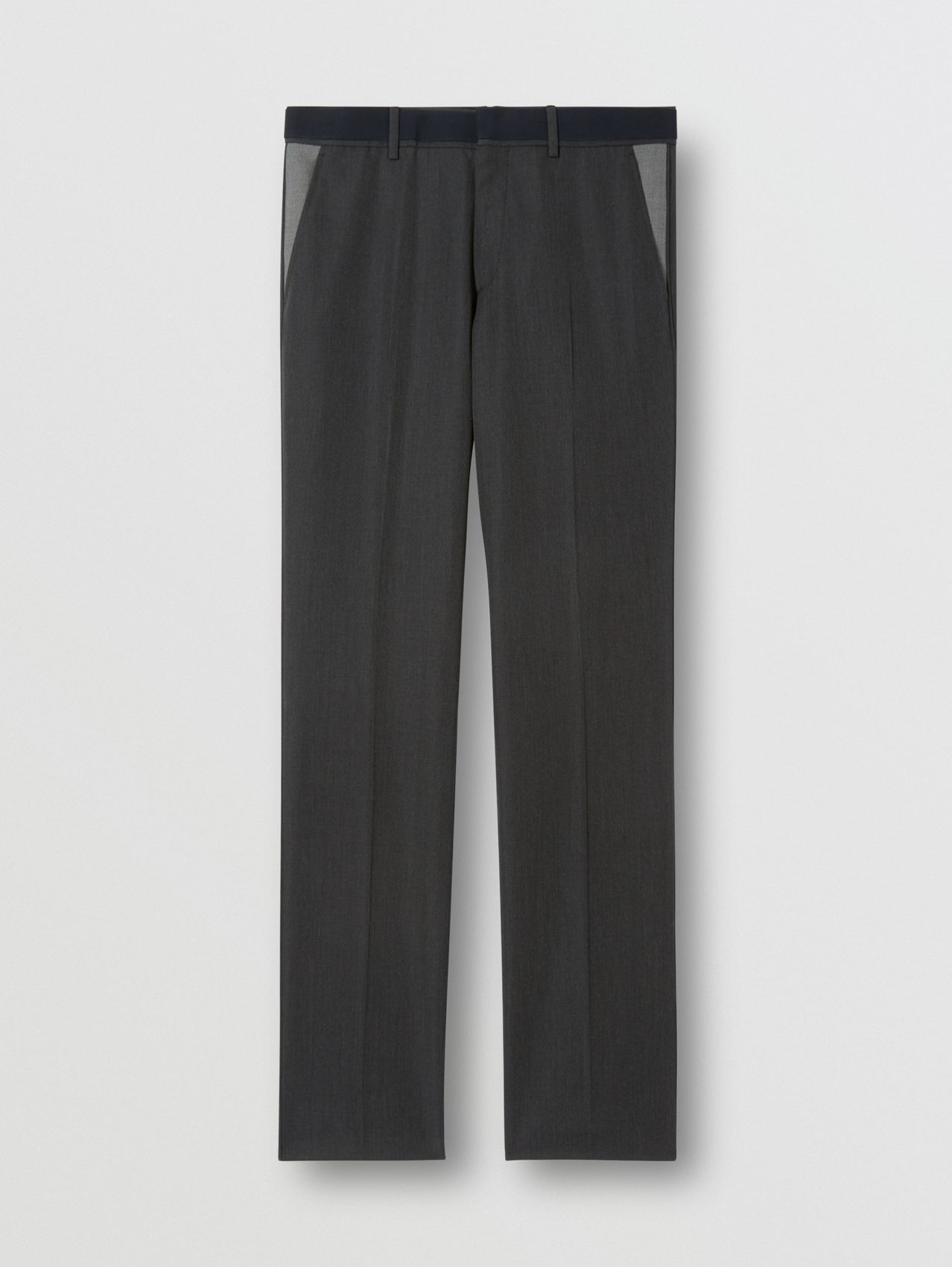 Classic Fit Panelled Wool Tailored Trousers in Charcoal