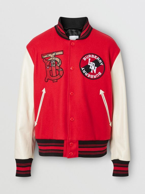 Contrast Sleeve Monogram Motif Wool Bomber Jacket in Bright Red