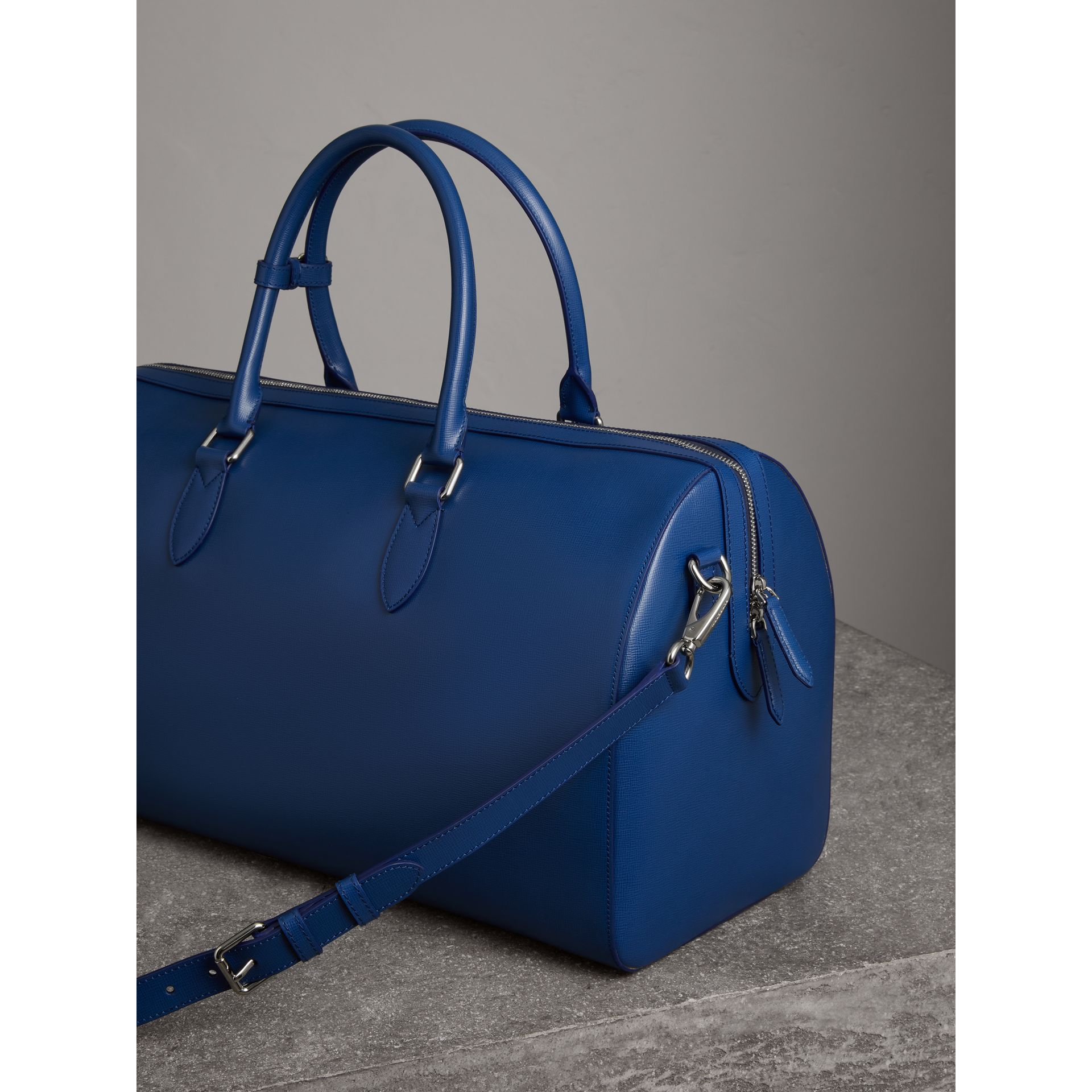 London Leather Holdall in Deep Blue - Men | Burberry - gallery image 4