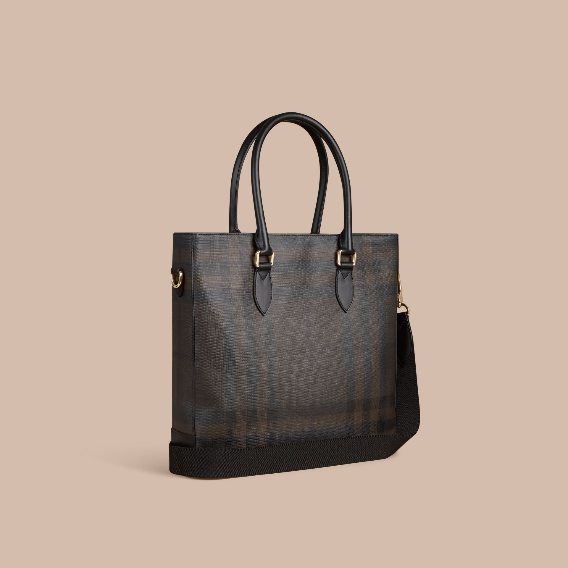 London Check Tote Bag in Black/chocolate - Men | Burberry United Kingdom - gallery image 1