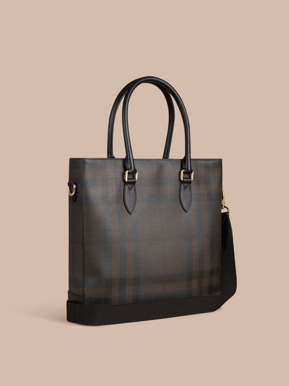 London Check Tote Bag in Black/chocolate - Men | Burberry