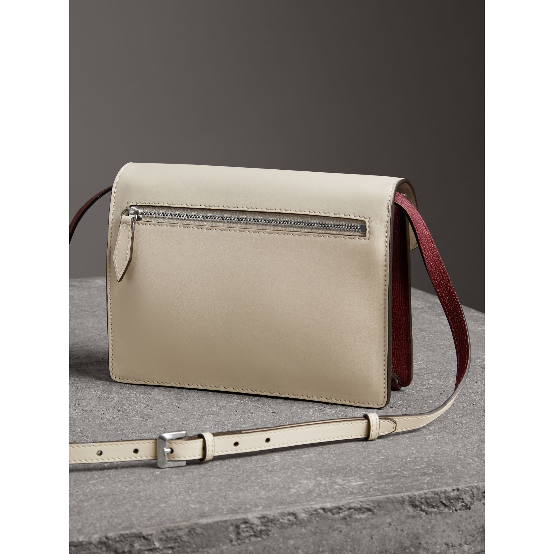 Two-tone Leather Crossbody Bag in Mahogany Red/limestone - Women | Burberry - gallery image 4