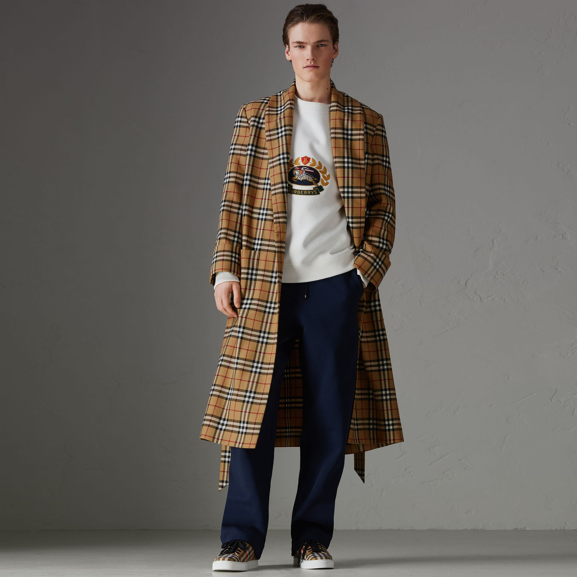 Reissued Vintage Check Dressing Gown Coat in Antique Yellow - Men | Burberry Australia - gallery image 0