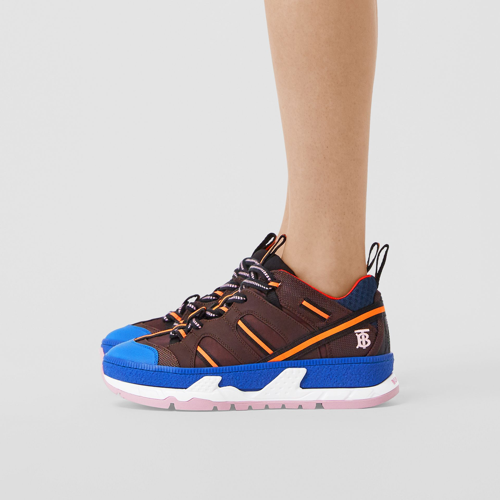 Nylon and Mesh Union Sneakers in Coffee/blue - Women | Burberry - gallery image 2