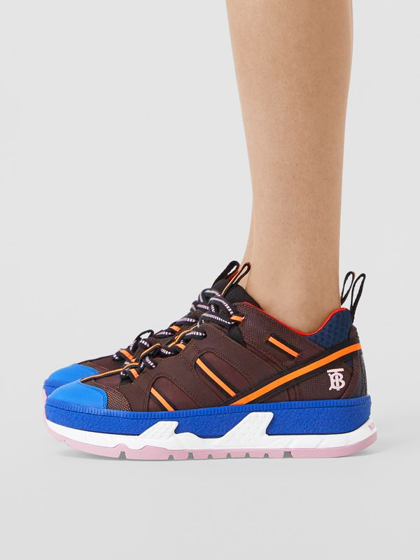 Nylon and Mesh Union Sneakers in Coffee/blue - Women | Burberry Canada - cell image 2