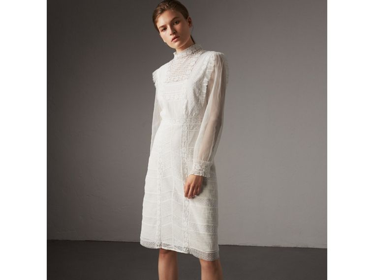 Ruffle Detail Lace Mesh Dress in White - Women | Burberry - cell image 4