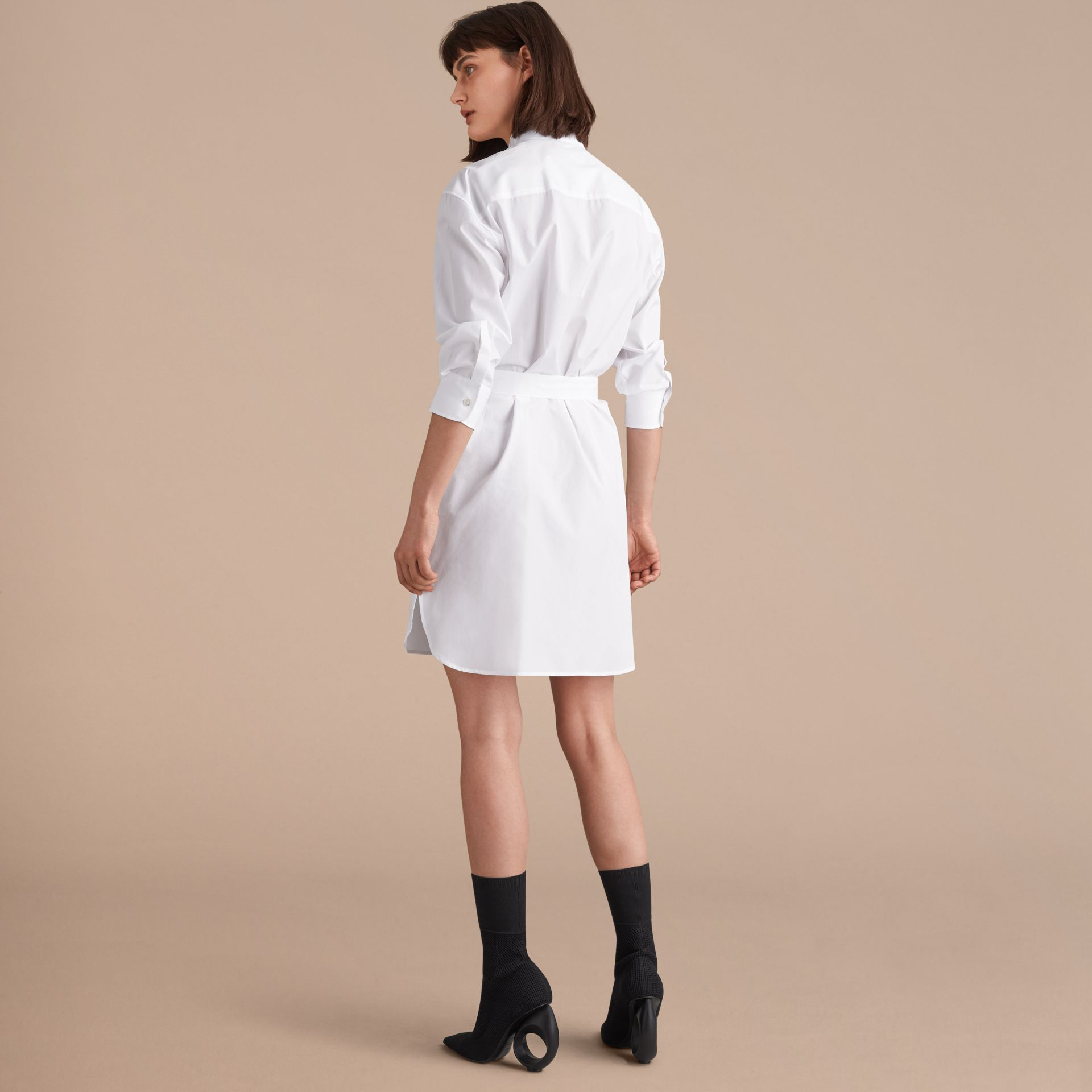 Tie-waist Wing Collar Cotton Poplin Shirt Dress in White - Women | Burberry - gallery image 2