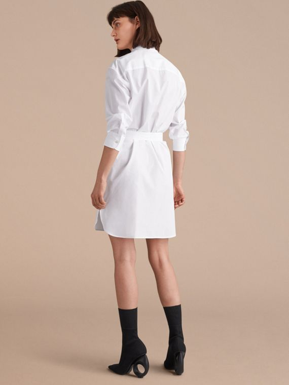 Tie-waist Wing Collar Cotton Poplin Shirt Dress in White - Women | Burberry - cell image 2