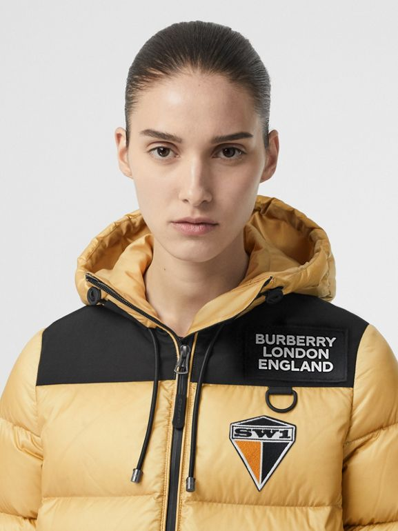 Logo Graphic Hooded Puffer Jacket in Pale Stone - Women | Burberry - cell image 1