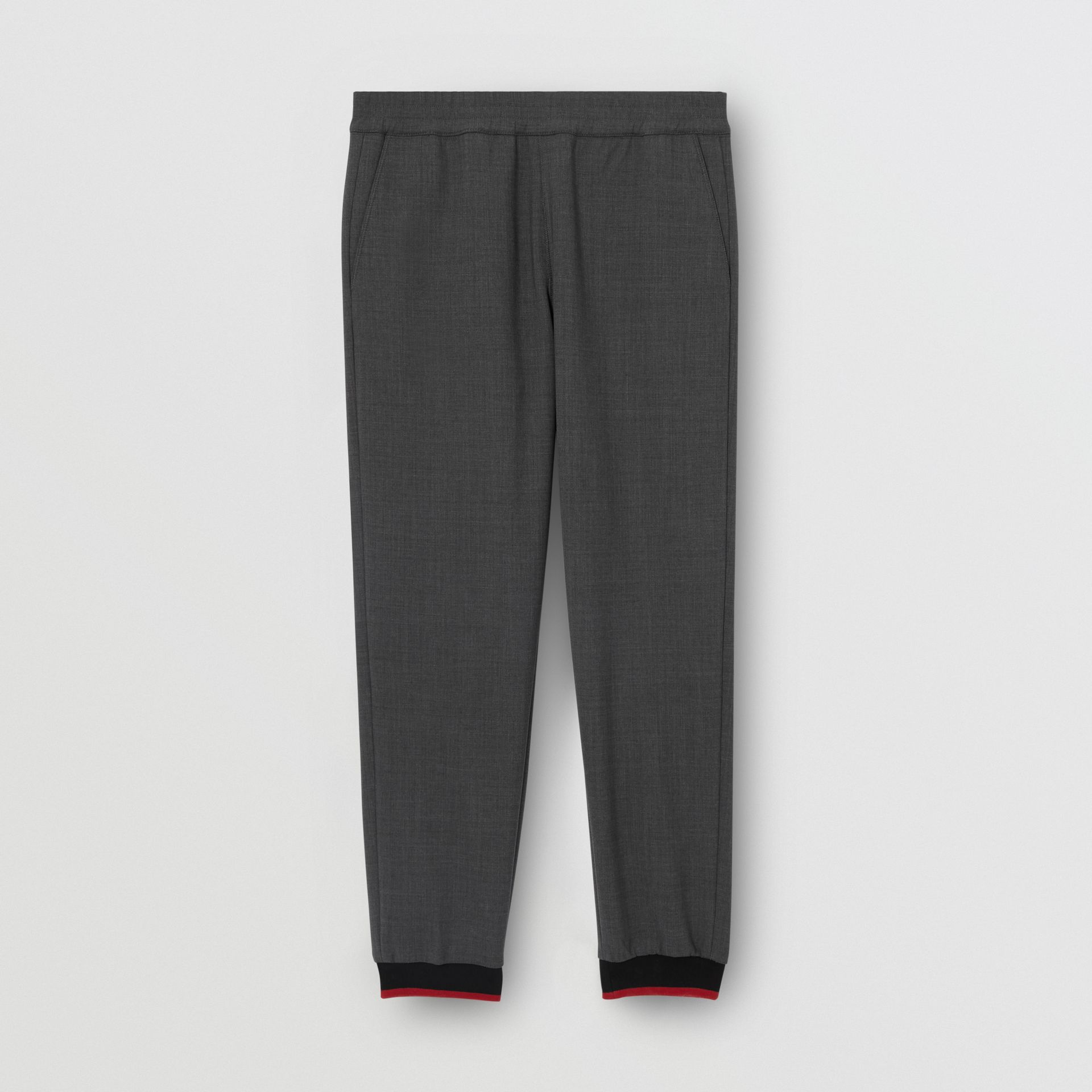 Stripe Detail Stretch Wool Neoprene Trackpants in Dark Grey Melange - Men | Burberry United Kingdom - gallery image 3