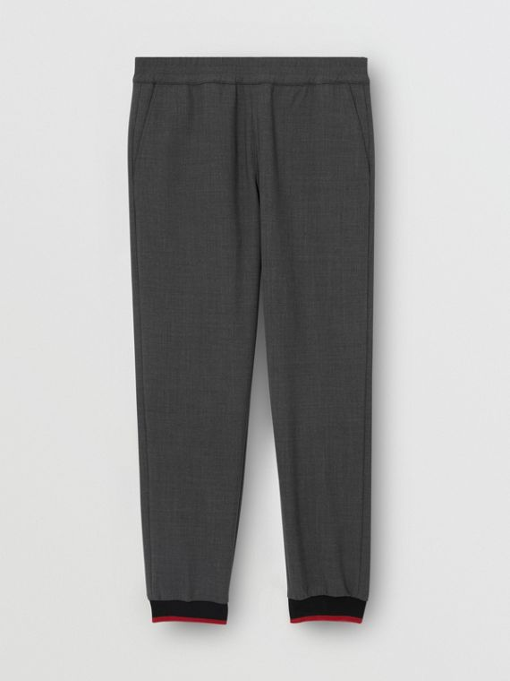 Stripe Detail Stretch Wool Neoprene Trackpants in Dark Grey Melange