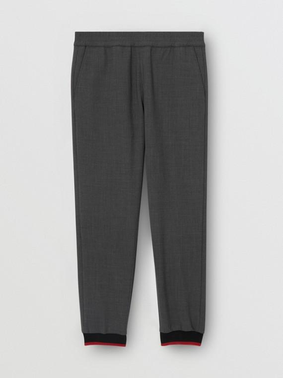 Pantalon de survêtement en laine stretch et néoprène avec rayures (Camaïeu  Gris Sombres)