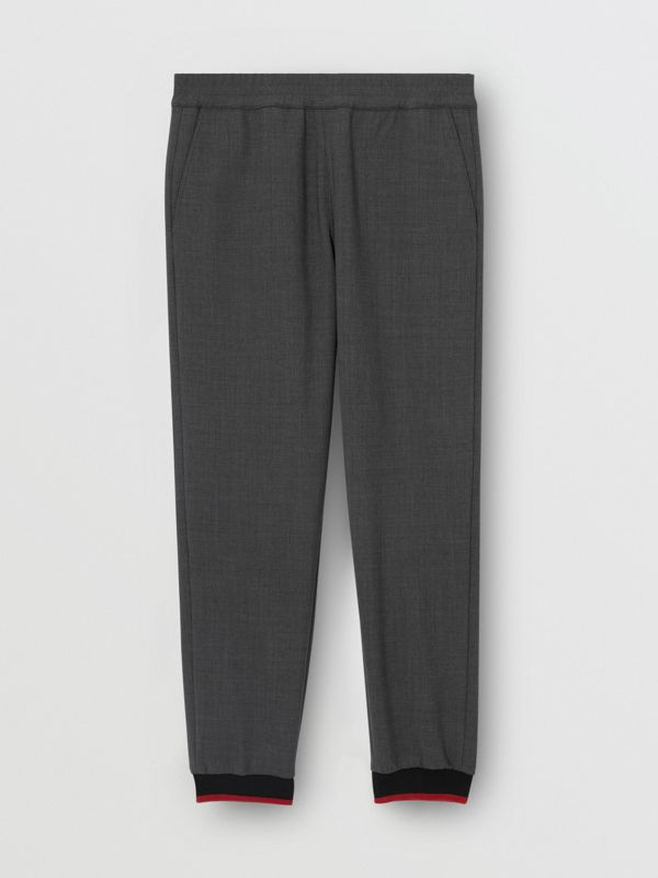 Stripe Detail Stretch Wool Neoprene Trackpants in Dark Grey Melange - Men | Burberry - cell image 3