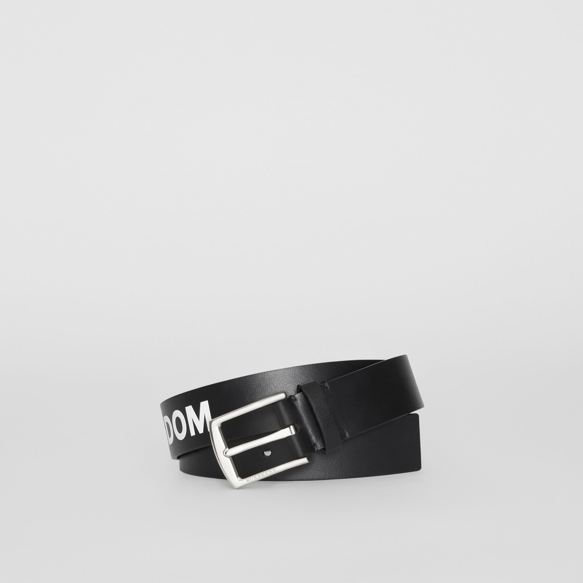 Kingdom Print Leather Belt in Black - Men | Burberry United Kingdom - gallery image 0