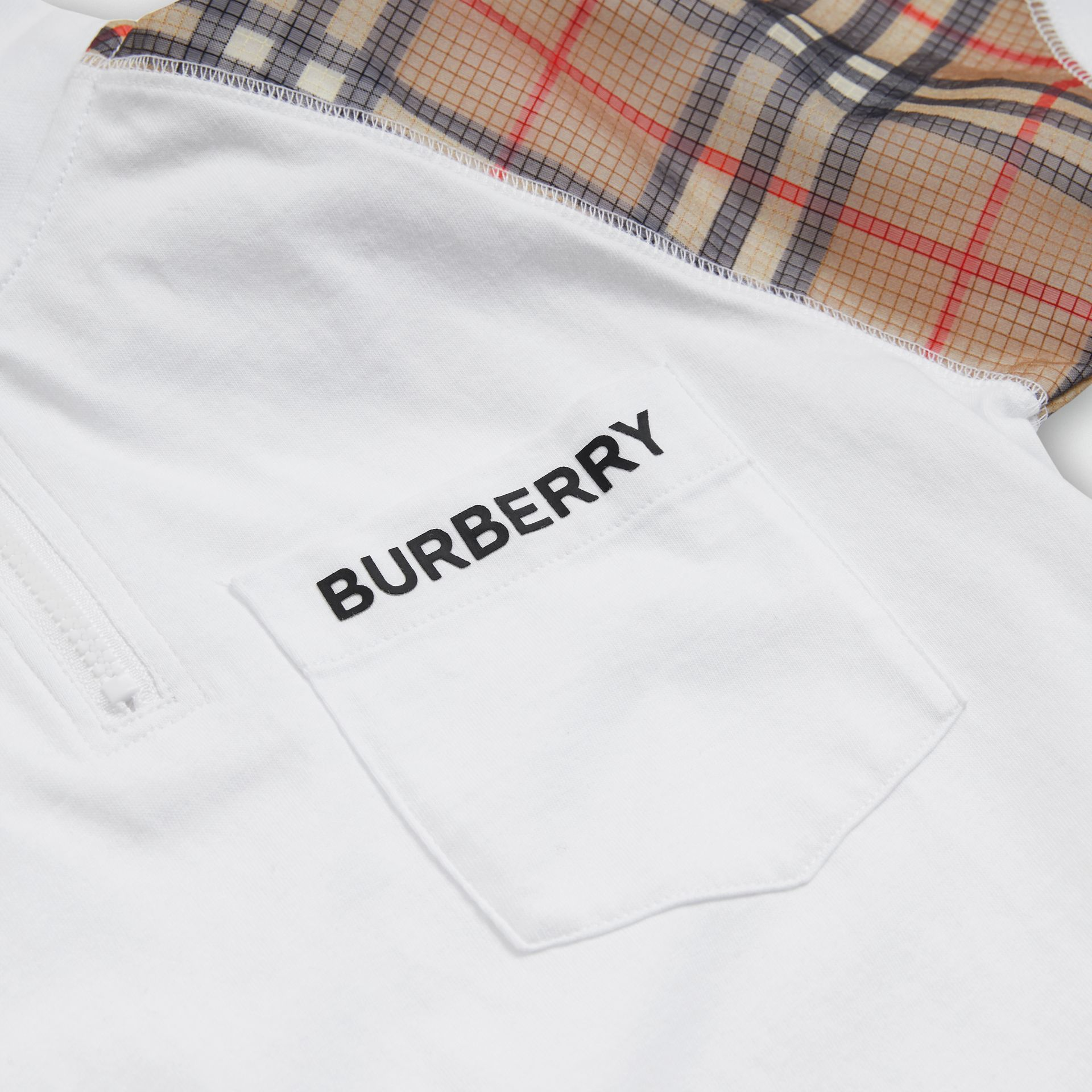 Check Detail Cotton Zip-front Polo Shirt in White | Burberry - gallery image 1