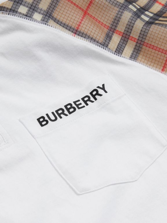 Check Detail Cotton Zip-front Polo Shirt in White | Burberry - cell image 1