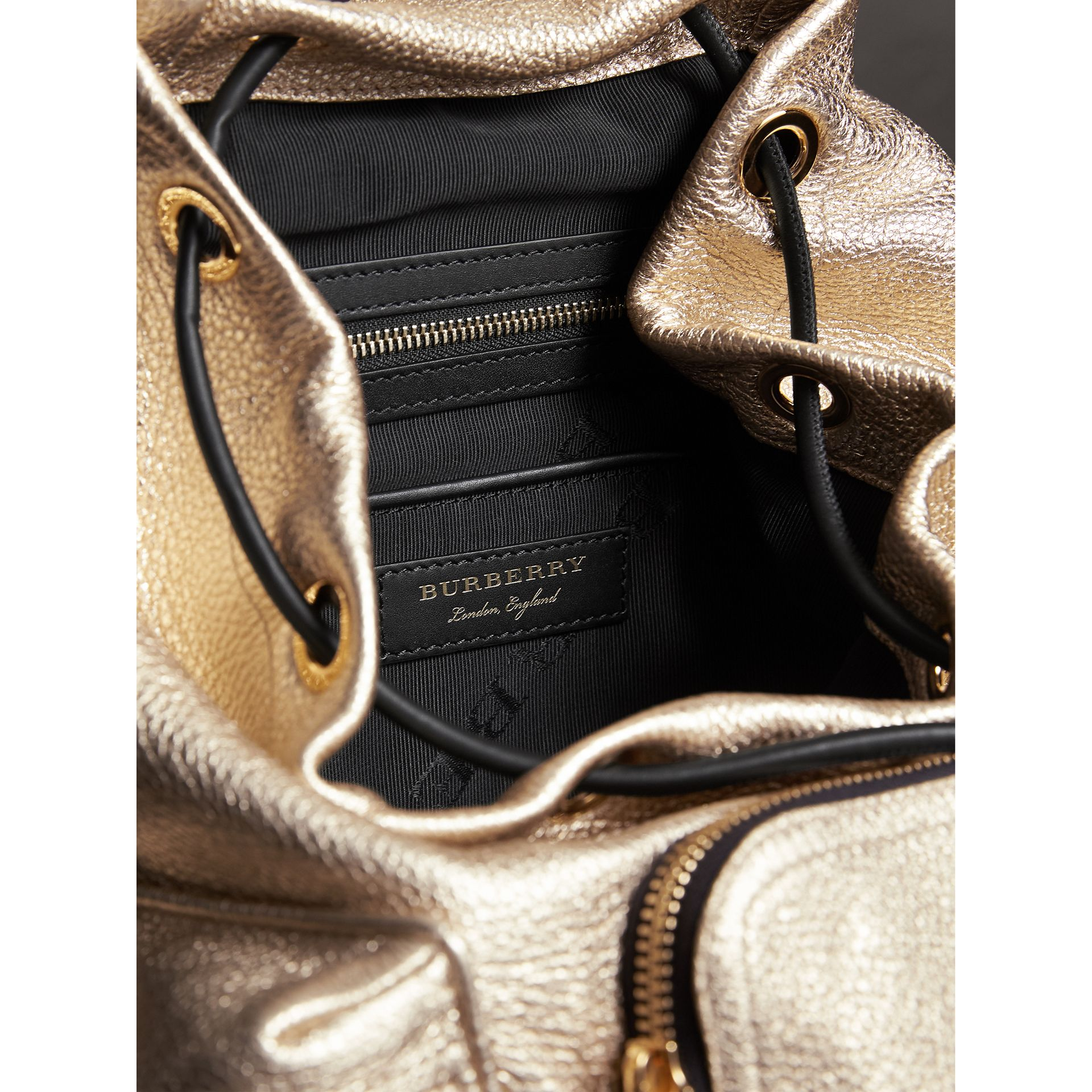 The Medium Rucksack in Metallic Deerskin in Nude Gold - Women | Burberry - gallery image 4