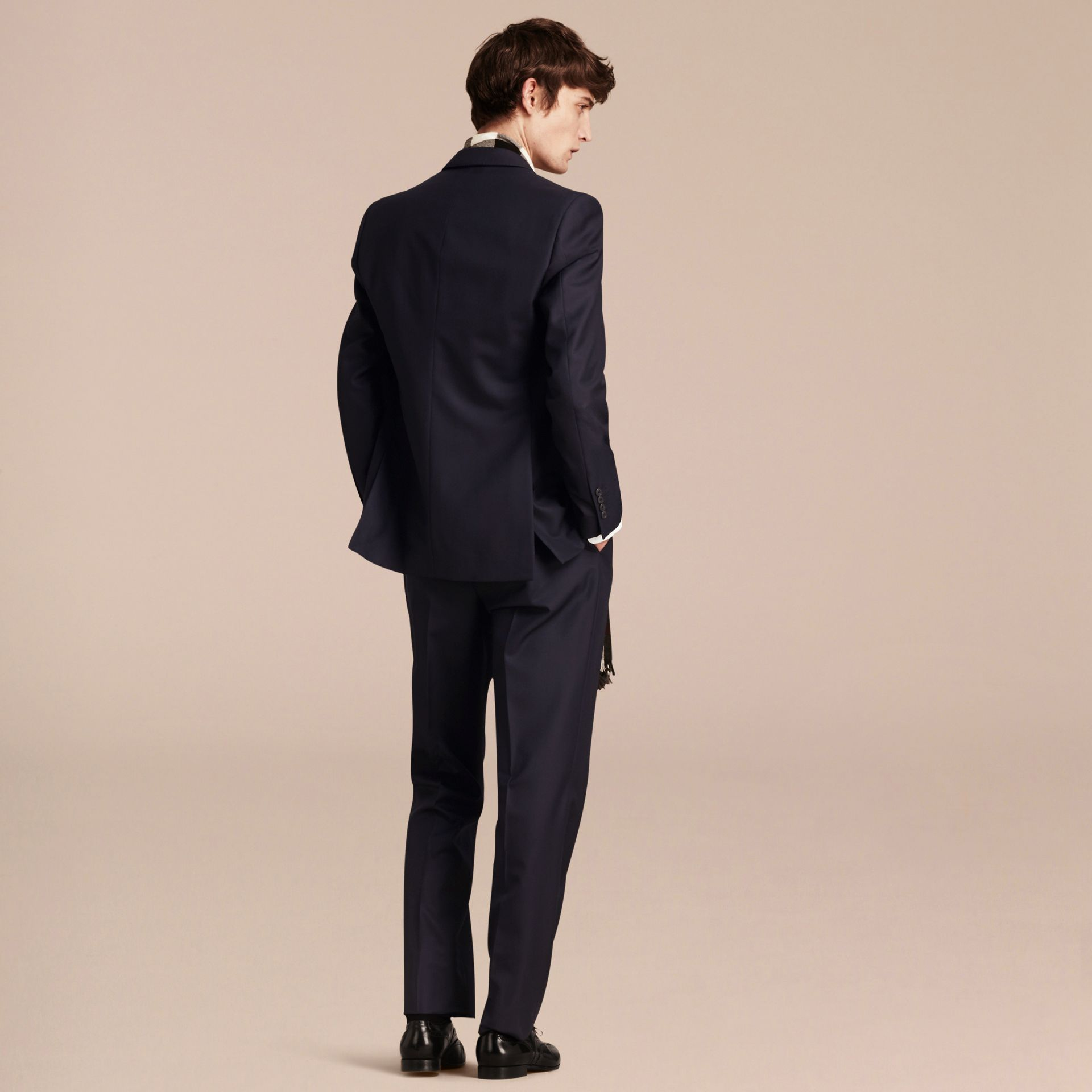 Navy Classic Fit Wool Part-canvas Suit Navy - gallery image 3