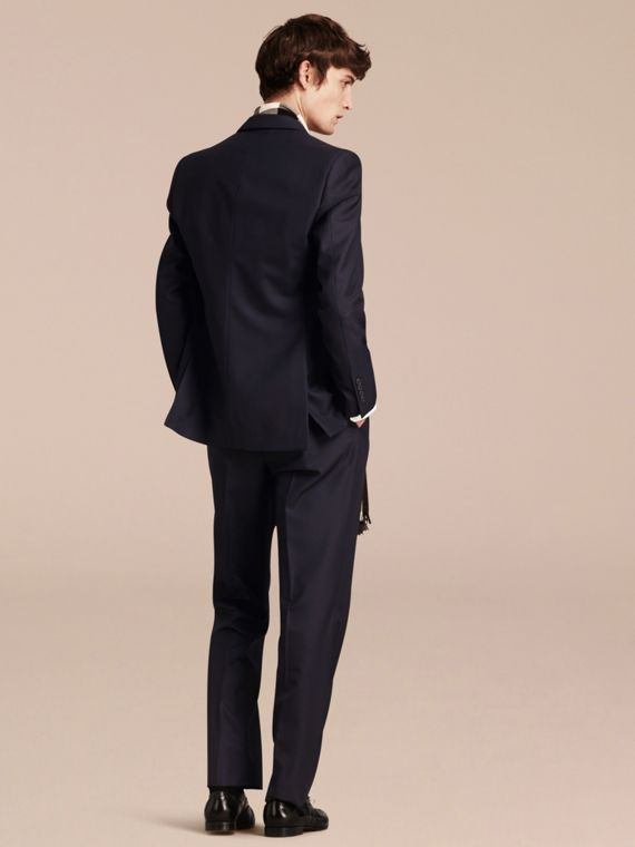 Navy Classic Fit Wool Part-canvas Suit Navy - cell image 2